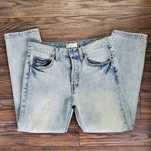 Free People Vintage Style High Rise Blue Jeans